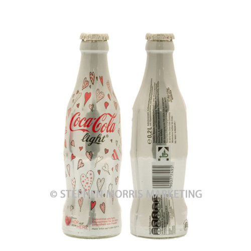 German 'World Heart Day' glass shrink-wrapped Coca-Cola light bottle October 2012. Product Code CCC-0070-0