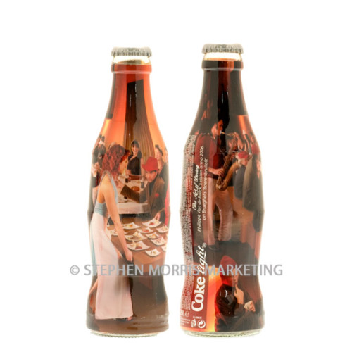 Coca-Cola Belgium 'The Art of Dining' Coke light bottle, glass, issued in 2006. Bottle 1 - Indoor dining. Product Code CCC-0077-0
