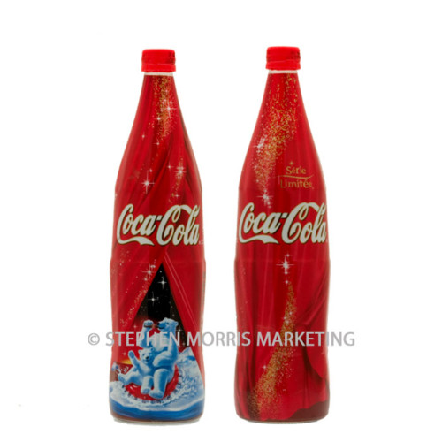 1 Litre Coca-Cola France shrink-wrapped glass 'polar bear' bottle 2003. Product Code CCC-0081-0
