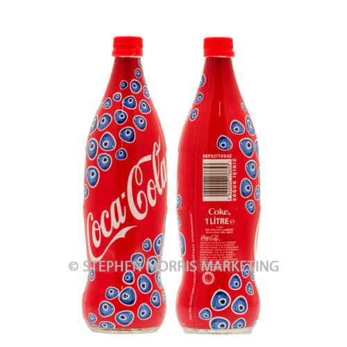 1 Litre Coca-Cola Turkey shrink-wrapped glass Migros Supermarkets bottle 2012. Product Code CCC-0082-0